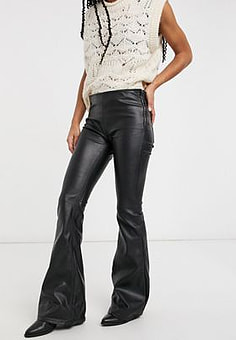 Free People Penny pull on faux leather flared trousers in black