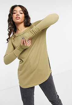 Free People snowy thermal top in tan-Brown
