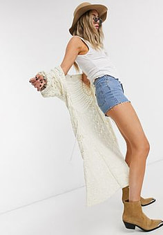 Free People sweet talker crochet kimono in ivory-White