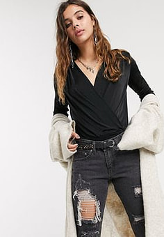 Free People turnt bodysuit in black