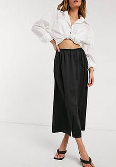 French Connection Alessia Satin Midi Skirt in Black
