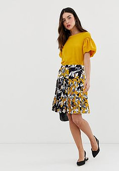 French Connection Aventine floral print pleated skirt-Yellow