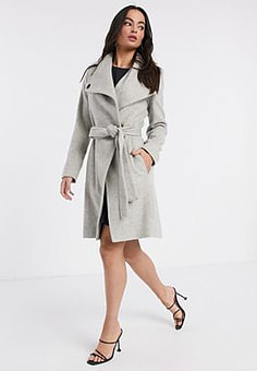 French Connection Bellarosa wool coat in cream