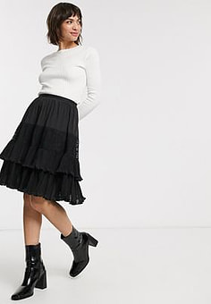 French Connection clandre vintage lace mix skirt in black