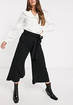 French Connection Cropped Flare Trousers in Black