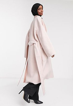 French Connection Daralice belted wool coat in cream