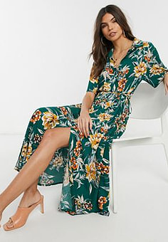 French Connection floral midi shirt dress in evergreen multi