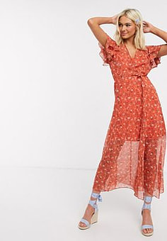 French Connection floral wrap maxi dress in orange