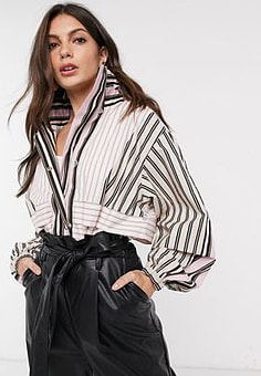 French Connection jacket in stripe-Multi