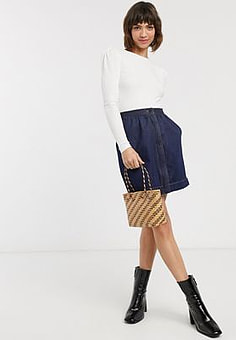 French Connection jule contrast stitch pocket skirt in blue