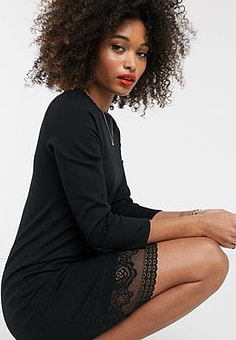 French Connection lace jersey 3/4 sleeve dress-Multi