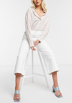French Connection Reem Sustainable Denim Culottes in White