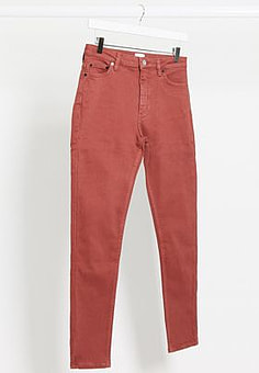 French Connection skinny high waist jeans in red