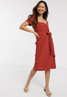 French Connection slinky button neck midi dress-Red
