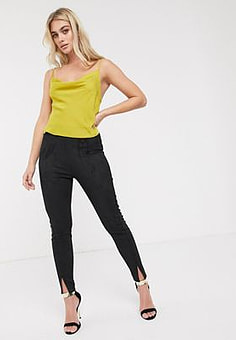 French Connection suedette leggings-Black