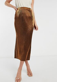 French Connection Taina metallic jersey pleated skirt-Gold