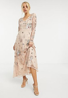 Frock And Frill all over fairytale embellished maxi dress in multi-Pink