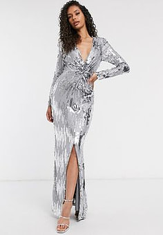 Frock And Frill Club knot front silver embellished maxi dress in grey