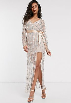Frock And Frill Club sheer emebllished maxi dress with bodysuit in silver