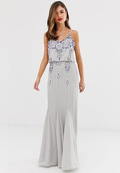 Frock And Frill Frock & Frill cami strap overlay maxi dress with embellished detail-Grey