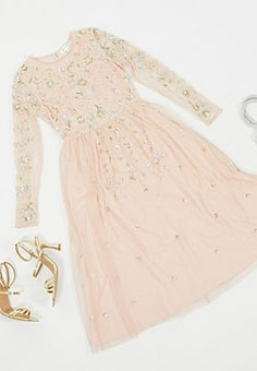 Frock And Frill Frock & Frill embellished long sleeve midi dress in blush-Pink