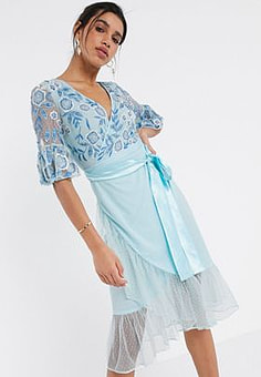 Frock And Frill Frock & Frill fluted sleeve embellished midi dress in blue