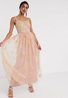 Frock And Frill Frock & Frill sequin tulle maxi dress in blush-Pink