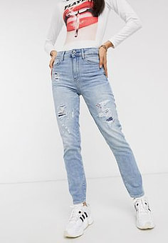 G-Star 3301 high straight 90's ankle jeans-Blue