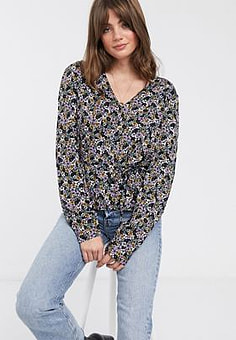 Gestuz Faya disty floral print blouse-Purple