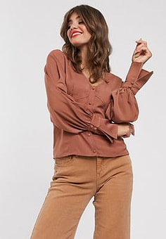 Gestuz Rubina smock blouse-Copper