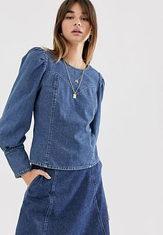 Gestuz Serala denim blouse-Blue