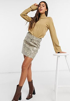 Girl In Mind a-line mini skirt in snake-Multi