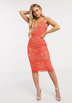 Girl In Mind crochet lace pencil dress in coral-Orange