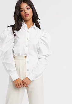 Girl In Mind extreme puff sleeve shirt in white