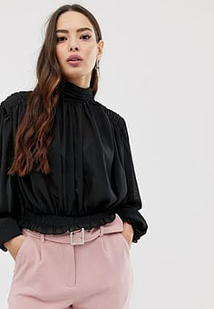 Girl In Mind gathered sleeve high neck blouse-Black