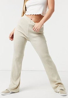 Girl In Mind knitted wide leg trouser in cream-White