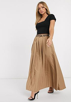 Girl In Mind pleated chiffon maxi shirt-Neutral