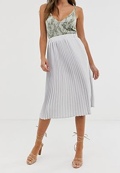 Girl In Mind pleated midi skirt-Silver