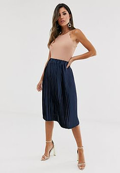Girl In Mind pleated midi skirt-Navy