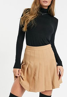 Girl In Mind pleated skater skirt in tan-Brown