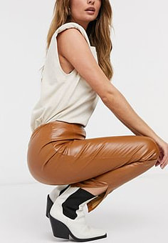 Girl In Mind pu skinny trouser in tan-Beige