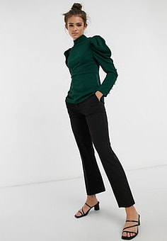 Girl In Mind puff sleeve button detail top in emerald green