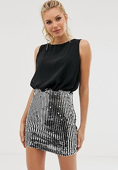 Girl In Mind sequin skirt dress-Black