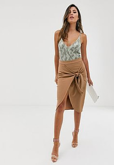 Girl In Mind tie front wrap skirt-Stone