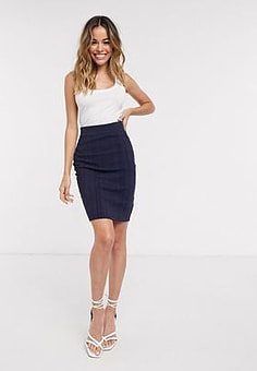 Glamorous bodycon midi skirt in navy