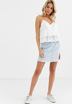 Glamorous denim mini skirt with zip front detail-Blue