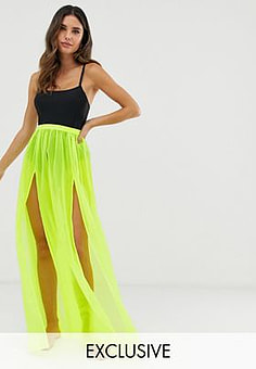 Glamorous Exclusive mesh beach skirt in neon lime-Green