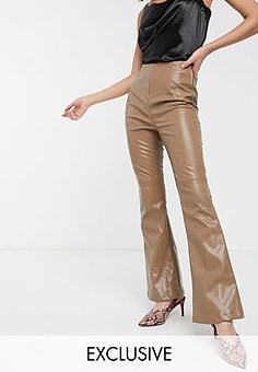 Glamorous high waist flared trousers in soft faux leather-Brown
