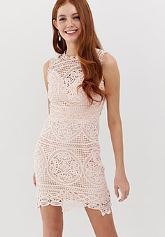 Glamorous lace and embroidered shift dress-Pink