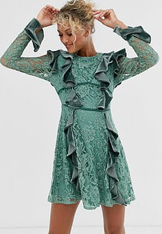 Glamorous lace and velvet mini dress with ruffle detail-Green